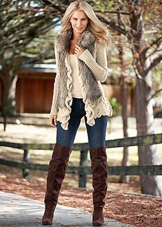 Faux fur ruffle sweater, jeans, boots