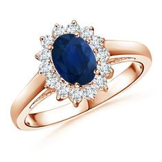 Oval Blue Sapphire and Diamond Floral Halo Ring