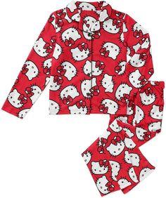 Hello Kitty Big Girls Button Front Sleepwear Pajamas Set (7/8 ...