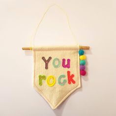 YOU ROCK! Mini Felt wall hanging by tamzenlundydesigns on Etsy Felt Wall Hanging, You Rock, Decorate Your Room, Textile Artists, Coin Purse, Mini, Unique Jewelry, Handmade Gifts, Etsy