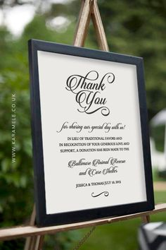 Printable PERSONALISED Wedding Donation Sign  in by KarameleShop