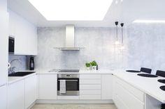 sisäkattolevyt, valkoinen keittiö