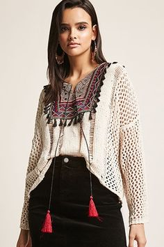 Chenille Open-Knit Tribal-Inspired Tasseled Peasant Top