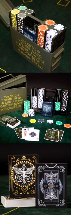 I love this poker set - so creative! It looks portable and durable enough to endure my mans camping trips with his buddies. Gadgets And Gizmos, Cool Gadgets, Poker Set, Ammo Cans, Poker Night, So Creative, Poker Chips, Poker Table, Small Gifts