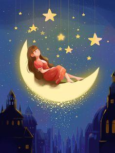 Illustration Nocturne, Night Illustration, Mountain Illustration, Good Night World, Good Night Image, Art Anime Fille, Anime Art Girl, Beautiful Moon, Moon Art