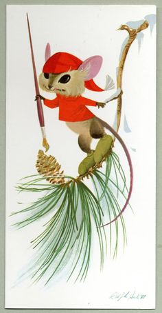 Mousie -- Christmas card designed by Ralph Hulett, 1961