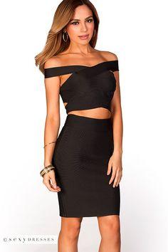 Off Shoulder Crop Top and Pencil Skirt Two Piece Black Bandage Dress