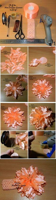 Cómo DIY de la cinta de raso hermosa flor del lirio de Rumia | www.FabArtDIY.com