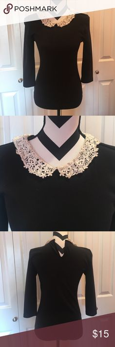 White Colar Black Top Good condition                                                                                      Bin D Forever 21 Tops
