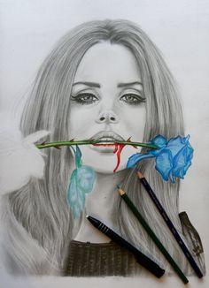 lana del rey colour pencil art - Google Search
