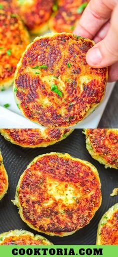 These Parmesan Mashed Potato Cakes are so addictive! A crunchy, cheesy crust is hiding the soft, velvety mashed potato filling. Tasty Vegetarian Recipes, Vegetable Recipes, Vegetarian Breakfast, Potato Recipes, Parmesan Mashed Potatoes, Mashed Potato Cakes, Fried Potato Cakes, Potato Side Dishes, Vegetable Side Dishes