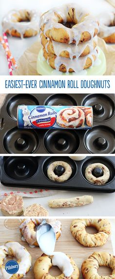 Try these Easiest-Ever Cinnamon Roll Doughnuts tomorrow morning for an simple twist on a favorite and some extra fun along the way! All you need is a doughnut pan and Pillsbury cinnamon rolls and deliciousness is literally minutes away.