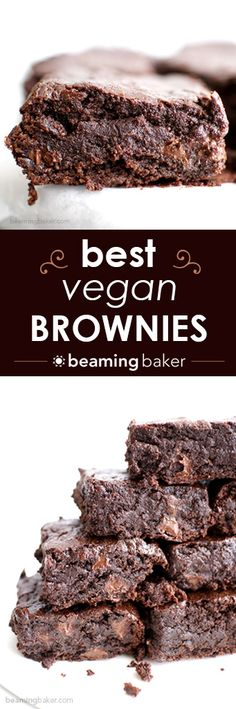 The BEST vegan brownies you've ever had: divinely rich, fudgy, and moist, bursting with chocolate flavor. BEAMINGBAKER.COM #Best #Vegan #Brownies