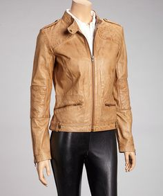 Take a look at this Camel Quilted Leather Jacket - Women & Plus by Whet blu on #zulily today!