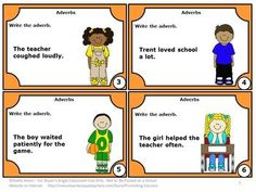 FREE Download Adverbs Task Cards for Parts of Speech Games & Activities: Here are 6 grammar task cards for 3rd grade, 4th grade, special education, ESL or speech therapy. They are a great alternative to worksheets. Students may play SCOOT, have a scavenger hunt or play other games. Additional game ideas, a student response form and an answer key are also provided.