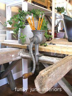 meat grinder for pencil holder via Funky Junk Interiors
