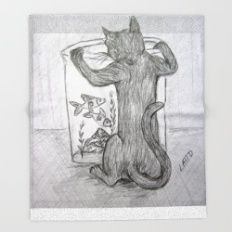 Curious Cat and the Goldfish Drawing Throw Blanket