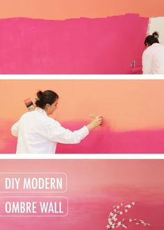This modern pink pagoda and coral coralette DIY modern .- Diese moderne rosa Pagode und Koralle Coralette DIY modernes ombre Wandprojekt v… This modern pink pagoda and coral coralette DIY modern ombre wall project by BEH … # - Mur Diy, Big Girl Rooms, My Room, Home Projects, Diy Home Decor, Ocean Home Decor, Decor Room, Room Decorations, House Design