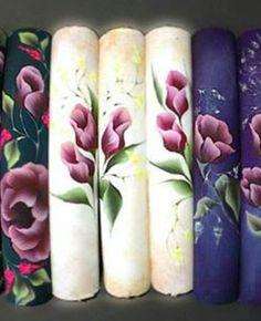 * Uñas One Stroke, One Stroke Nails, One Stroke Painting, Colorful Nail Art, Floral Nail Art, Acrylic Nail Art, Face Painting Flowers, Nail Mania, Nail Stencils