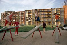 Czech girls on a playground at an apartment complex, October 1966. PHOTOGRAPH BY JAMES P. BLAIR, NATIONAL GEOGRAPHIC