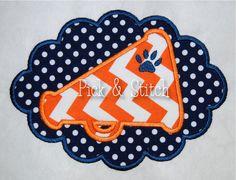 Tiger Print Megaphone Scallop Applique Design Machine Embroidery INSTANT DOWNLOAD