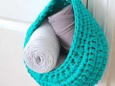 Anleitung für einen Hängekorb aus Hooked Zpagetti Textilgarn