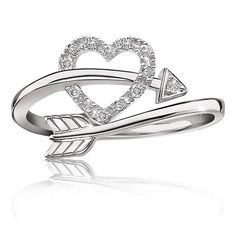 Heart Arrow Diamond Ring in Sterling Silver - Summer 2015 Diamond Promise Ring Collection
