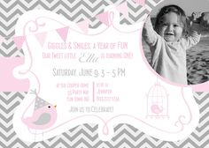 Birds Birthday Party Invitation Girl Pink Gray - Bird Chevron Birthday Party Hat - Pink Grey - Bunting Banner - Photo Card - First Birthday. $14.00, via Etsy.