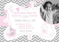 Birds Birthday Party Invitation Girl Pink Gray - Bird Chevron Birthday Party Hat - Pink Grey - Bunting Banner - Photo Card - First Birthday. $14.00, via Etsy.