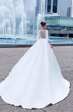 Three-quarter length cuffless sleeves elegant ball gown wedding dress with pocket #weddingdresses #bride #wedding #weddingdress #weddinggown #weddinggowns