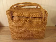Nice large woven beach basket with hinged woven lid, woven clasp and woven handles- beautiful by HeathersCollectibles on Etsy