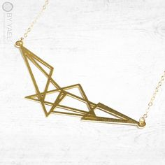Gold necklace gold triangles necklace geometric by ByYaeli on Etsy
