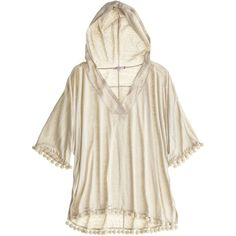 CALYPSO St. Barth Sayda Linen Popover Hoodie ❤ liked on Polyvore