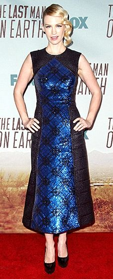 The Mad Men actress wore a bold blue Mary Katrantzou dress with simple black pumps.