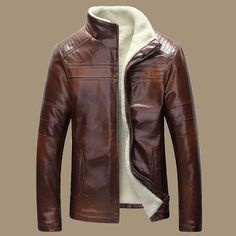 Fall-New Winter Warm Mens Genuine Leather Jacket Men Retro Brown Sheepskin Fur Coat Man Wool Liner Shearling Jackets and Coats