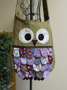 Feathered Owl Bag in Tan Chenille with Purple by SarahsStitchesMI, $40.00