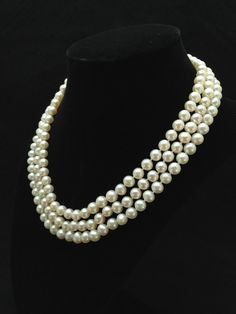 Genuine Pearl Necklace AAA Pearl Necklace Triple by AdarnaGallery