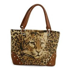 CHIC ACCESSORIES- FLORENTINE COLLECTION J Francis Leopard Face Print PU Leather Hand Bag