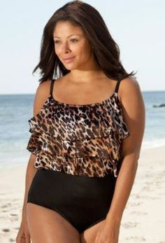 Longitude Big Cat Plus Size Triple Tier Swimsuit - Plus Size Swimsuit Plus Size Swimsuits