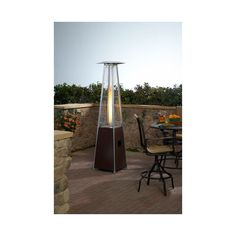 PrimeGlo Tall Glass Tube Patio Heater in Hammered Bronze