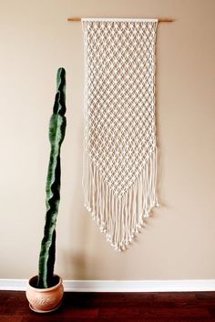 Large White Macrame Wall Hanging Woven and Cactus - wall hanging weave, crochet wall hanging