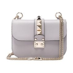 """Small Lock Shoulder Bag by Valentino. Genuine grained leather with twill lining and pale gold-hardware.  Made in Italy.  Measures approx 8""""""""W x 5.5""""""""H x 2""""..."""