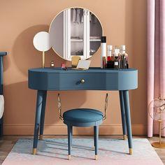 Modern Elegant Makeup Vanity Table Set 2 Mirrors with Drawer & Stool Brushed Gold Blue Makeup Table Vanity, Makeup Vanities, Modern Makeup Vanity, Makeup Vanity In Bedroom, Wall Mounted Makeup Vanity, Makeup Tables, Vanity Bathroom, Vanity Ideas, Rangement Makeup