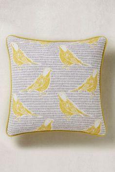 Yellow Retro Bird Print Cushion