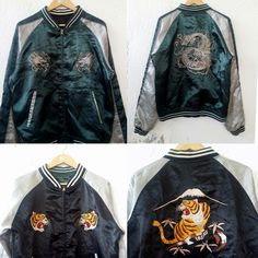 "Vintage SUKAJAN Reversible Jacket Tiger Roars and Dragon Embroidery Japan Souvenir Jacket Tradition Japanese Bomber Satin Jacket Size M VSJ6  Tag reads: - (M) Chest (below armpit to other below armpit): 22"" inches Front length of shirt (top of shoulder to bottom of product): 26.5"" inches Condition:  Vintage pre owned condition. Commonly slightly faded due to ages and use.   ** WE ARE USING DHL EXPRESS,PLEASE LEAVE YOUR PHONE NUMBER ON THE NOTE WHILE MAKE A PURCHASE**  If you have any…"