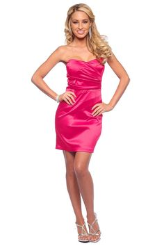 Chic Strapless Red Satin Tube Style Evening Cocktail Party Prom Mini Dress S 1f433b9afc