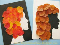 Fall craft - hair styling Autumn Crafts, Autumn Art, Nature Crafts, Leaf Crafts Kids, Crafts For Kids, Arts And Crafts, Projects For Kids, Art Projects, Leave Art