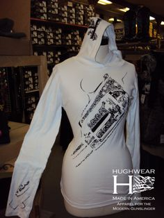 Embossed Women's Long-Sleeve Hooded Shirt #hughwear #badass #americanmade #USA #gunz www.hughwear.com