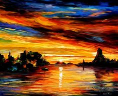 Leonid Afremov Sicily Catania oil painting reproductions for sale