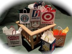 Dolls House Miniatures Shopping Bags set 12 by LittleHouseAtPriory, $15.00